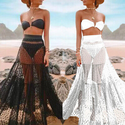 e1c3615ec7 Women Bikini Cover Up Swimwear Sheer Beach Maxi Wrap Skirt Sarong Pareo  Dress