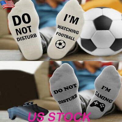 826d6a09df6e 1Pair Solid Novelty Do Not Disturb I Am Gaming Men's Funny Socks Letter Sox  US