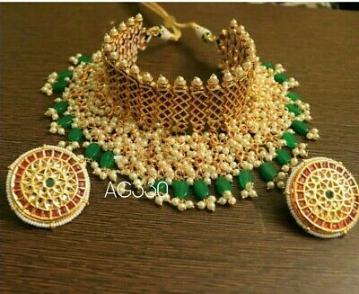 Latest Collection Of Red-green Bead White Kundan Golden 9pc Bridal Necklace Set Reception Dulhan-9090 Cheap Sales Jewelry & Watches