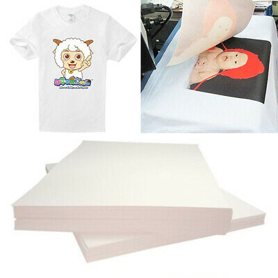 20Pcs A4 Iron On Inkjet Print Heat Press Transfer Paper Light Fabric T-Shirt UK