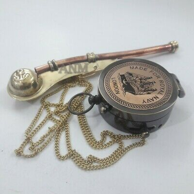 Antique Nautical Copper Brass Pocket Compass With Brass Whistle Maritime Gift