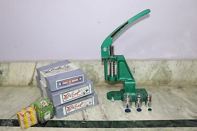 Green Hand Press Machine For Fabric Cover Button With Two Dies and Free Buttons
