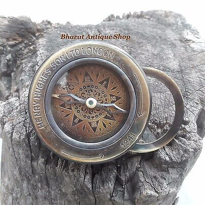 Antique Nautical Brass Compass Flip Out Magnifying Glass Map Reader