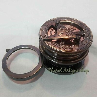 Antique Brass Sundial Compass With Flip Out Magnifier Collectible Gift