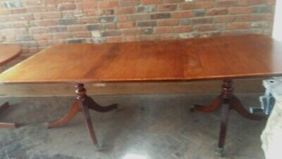 19Th C Extending Crossbanded Table With 2 Pedestals And Lions Paw Castors