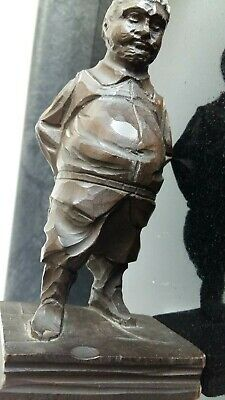 Black Forest Hand Carved Figure Of A Man Standing On A Book