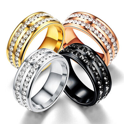 316L Stainless Steel Wedding Silver/Gold Band Men Women Couple CZ Ring Size 5-13