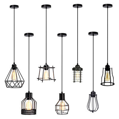 Modern Ceiling Hanging Cage Pendant Light Lamp shade Retro Industrial Loft Style