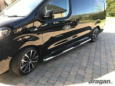 To Fit 2016+ Peugeot Expert Traveller LWB Stainless Steel Side Bars Step Pads x4