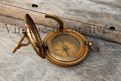 "Nautical Brass Push Button Compass Handmade Maritime Ship Sundial Compas 3"" GIFT"