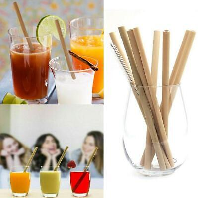 12pcs Reusable Natural Organic Bamboo Drinking Straws With Cleaning Brush