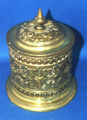 An antique repousse brass Victorian gothic neoclassical style tea caddy, Frankau