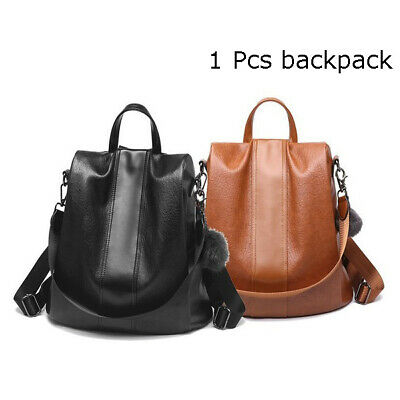Leather zipper Anti-theft Lady Backpack Large Capacity Hair Ball School Bag