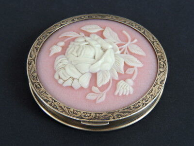 1954 Vintage USSR Russian Gilt Sterling Silver 875 Rose Compact Puff Powder Box