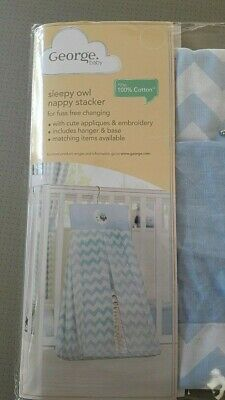 100% cotton baby boys sleepy owl nappy stacker Brand New in packet