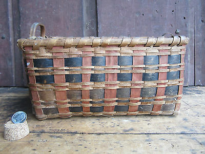 Antique Maine Small Wooden Ware Woven Splint Basket Relic Original Paint Surface