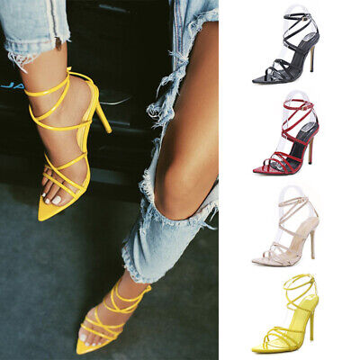 Sexy Women Ankle Strap Pointy Open Toe Sandals Ladies Party High Heel Shoes Size