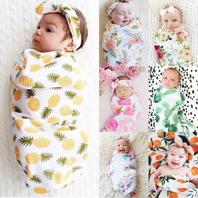 AU 2pcs Cotton Infant Swaddle Muslin Blanket Newborn Baby Wrap Swaddling Blanket