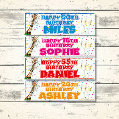 2 Personalised Champagne Birthday Party Banners  - Any Name/Age 18Th 21St 60Th