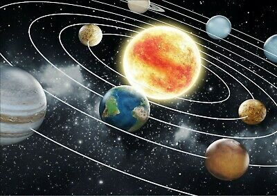 Solar System Space Stars Kids Learning Poster A4 Print Laminated, Add Any Text