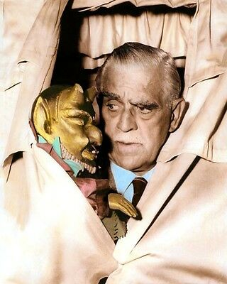 "BORIS KARLOFF HALLOWEEN HOLLYWOOD MOVIE STAR 11x14"" HAND COLOR TINTED PHOTO"