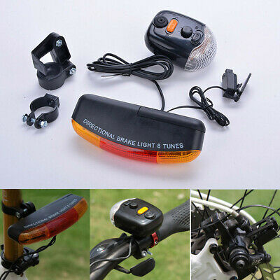 LED Bicycle Turn Signal Directional Brake Light Lamp 8 Sound Horn Turn Signal US