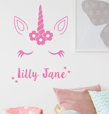 Unicorn stars wall sticker Personalised any name boys STARS AF3 DECAL DECOR