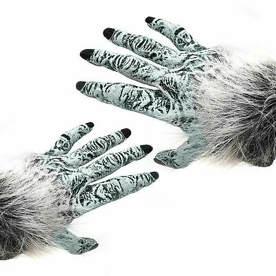 Grey Walker Werewolf Hands Adults Wolf Gloves White Fancy Dress Costume Mens