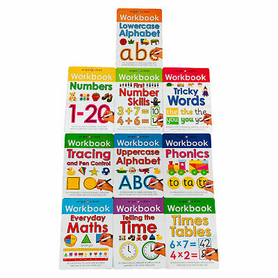 Nursery Reception wipe clean 10 books age 3-5 years alphabet numbers phonics New