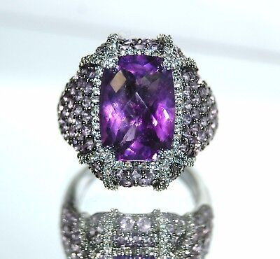 Large Lavender CZ - Faux Amethyst in size 7 Sterling Silver Ring
