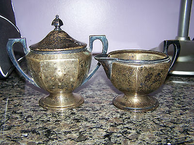 APOLLO BERNARD RICE & SONS Vintage Antique Sugar Creamer Set EPNS collectable