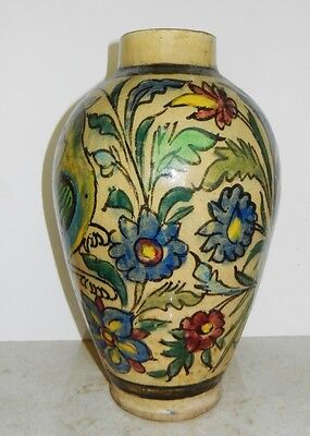 Persian Qajar Dynasty~Polychrome Glazed BIRDS & FLOWERS Ceramic Vase~1781-1925