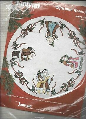 Janlynn Counted Cross Stitch, SANTA TREE SKIRT KIT, MPN 40-73, Re-sealed,1988
