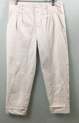 Alice + Olivia Cropped Capri Cuffed Pants Cotton Blend White Midrise Size 4