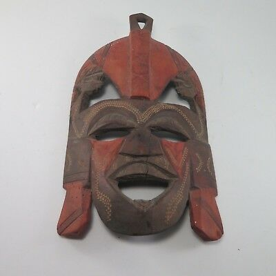 Vintage African Hand Crafted Wall Hanging Wooden Craved Mask Antique