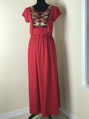Women's eShakti Custom Red Floral Embroidered Maxi Long Dress Pockets Tie Y-neck
