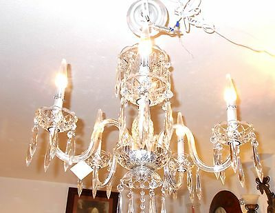 Antique Maria Theresa Crystal Prism 5 Arm Chandelier from Boston Archit Salvage