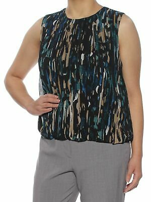 7484b74188acf7 CALVIN KLEIN  44 Womens New 1160 Teal Geometric Sleeveless Top S Petites B+B