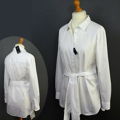 M&S Pure COTTON Longer Length BELTED Ladies SHIRT ~ Size 14 ~ WHITE