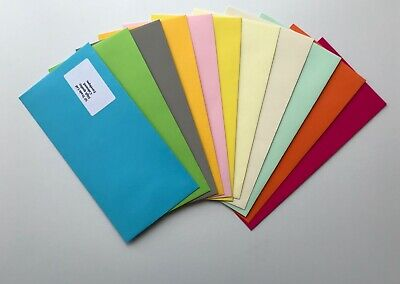 WHOLESALE 120gsm DL size no window peel/ seal  coloured  Lot of 220 envelopes