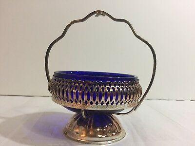 Queen Anne Cobalt Blue Glass Silver Plate Condiment Nut Dish Reticulated