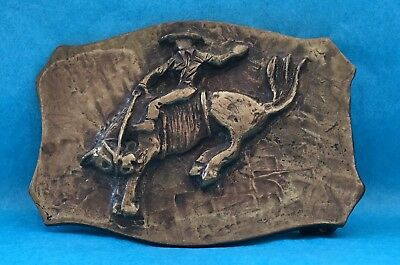 VTG Old 1950's Heavy Brass Bronze Tone BUCKING BRONCO Cowboy Western BELT BUCKLE