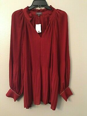 NWT The Limited Women's Plus 1X  Red Merlot Ruffled Split Neck Long Sleeve Top