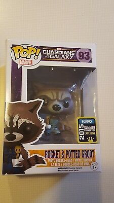 Funko POP! Marvel SDCC Convention Exclusive Rocket Raccoon & Potted Groot New