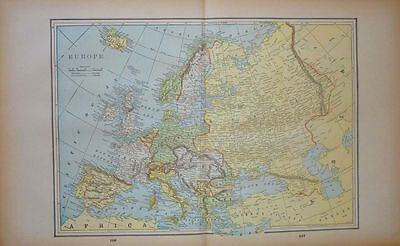 1893 Antique Color Map Europe -  Russia 12 x 21 Lithograph