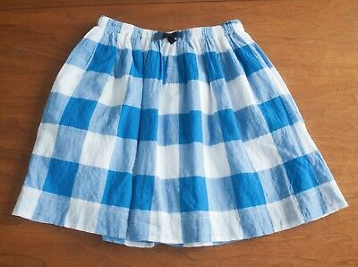 a7ce0129fe J.CREW Crewcuts Girls Size 14 Blue & White Gingham Pull On Plaid Skirt