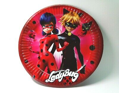 Miraculous Ladybug and Cat Noir Party Plates Lady Bug Tableware Paper Plates
