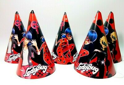 Miraculous Ladybug Baby Shower Birthday Hats Lady Bug Caps Set of 10 Party hats