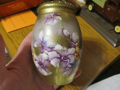 Antique Vintage Handpainted Gold Purple Pansy Sugar Shaker Muffineer Hatpin Hold