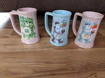 Set Of 3 Vintage Tall Care Bears Cups Mugs ~ Very Nice ~ Unique